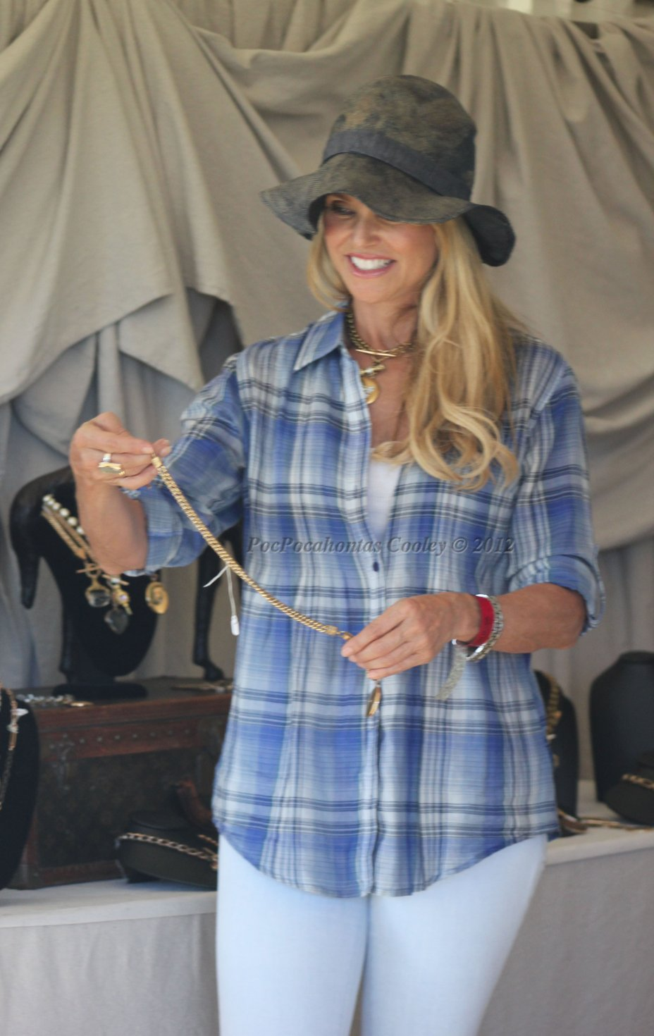 Christy Brinkley shopping in the boutique Gardens at the Hampton Classic